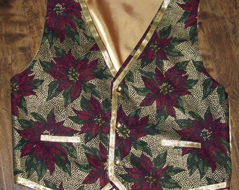 St Nick Santa Claus Mrs Claus Christmas Poinsettia vest, custom made to order, NEW