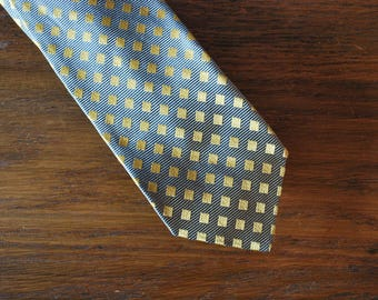 1950s Cricket gray and gold silk skinny tie