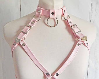 Pink Faux Leather O Ring Harness, Pink O Ring Harness, Pink Faux Leather Body Harness, Pink Kittenplay Harness, Pink Burlesque Harness