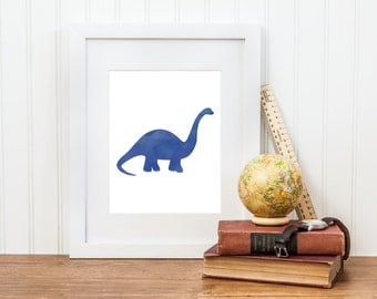 Dinosaur Art Printable - Watercolor Brachiosaurus Print - Dinosaur Decor - Digital Download - Dinosaur Room