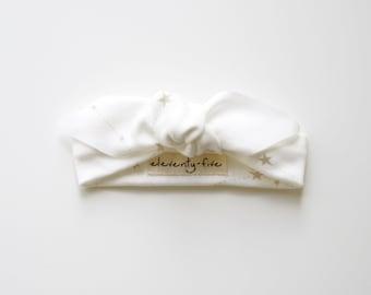 Zodiac Constellations | Organic | Infant Headband | Baby Girl Head Tie | Gold Stars