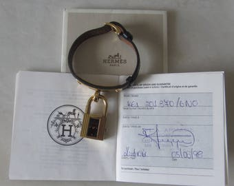 Vintage HERMES Kelly Padlock Watch on Black Leather Strap with Certification Guarantee
