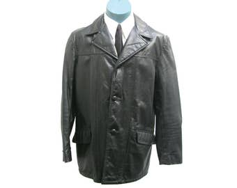 Vintage 1960s Greaser Cabretta Jacket Mens Sears Black Leather 3/4 Length Button Front Rockabilly Car Coat Made in USA Mns Size 46 Fits XL