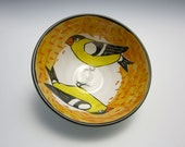 RESERVED FOR JAN - Ceramic Bowl - Yellow Goldfinch Bird - Pottery Bowl Dish - Majolica Bowl -  Clay Bowl - Woodland Creature - Cereal Bowl