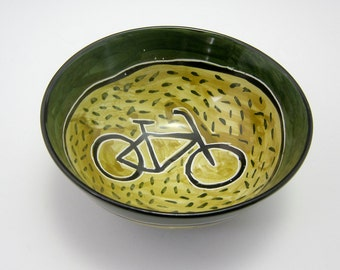 Small Ceramic Bowl - Bicycle Bike - Pottery Bowl - Small Clay Cereal Bowl - Small Dish - Olive Green - Majolica - Small Serving Bowl