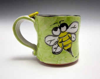 Small Petite Ceramic Coffee Mug - Pottery Tea Cup - Honey Bee - Gift for Her - Clay Majolica Mug- Yellow Green - 9 oz ounces - Child's cup