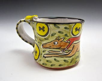 Medium Greyhound Coffee Mug - Fawn Greyhound Dog - Dog Coffee Cup - Majolica - 12 oz ounces - Pottery Mug - Tea Cup Mug - Super Dog Gift