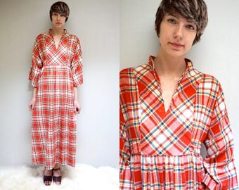 Cotton Plaid Dress  //  Muumuu Dress  //  70s Hippie Maxi Dress  //  THE TAPAS