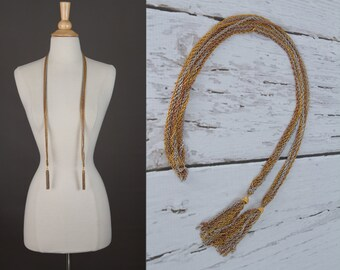 vintage 1970s scarf necklace with tassels | multi strand