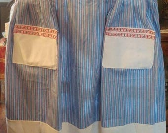 Half Apron Embellished with Vintage Linens Upcycled embroiderd  - pillowcase