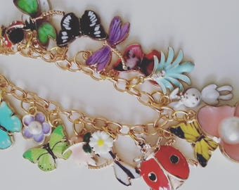 Ultimate, Secret garden, butterfly, dragonfly, ladybird, flowers, green, pink, mix colour, necklace, Summer, by NewellsJewels on etsy