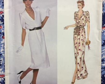 Vogue 2165 UNCUT Designer Pattern Vogue Patis Original by Givenchy Button down dress with Tulip sleeves Size 10 circa 1979