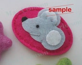Felt hair clip -No slip -Wool felt -Silver grey mouse -magenta SAMPLE