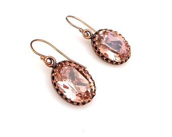 bridesmaid gift prom Swarovski vintage rose blush pink oval foiled crystal rhinestone drop simple 14k rose gold-filled fish hook earrings