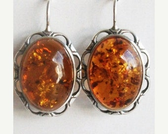 SALE 20% OFF Amber Earrings - Genuine Amber Earrings - Large Amber Earrings - 925 Sterling Silver Jewelry - Free Shipping - Natural Amber Ea