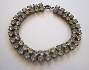 vintage rhinestone - marked CZECHOSLOVAKIA - double row, brass setting, 7.5 inches - 3/8 inch wide
