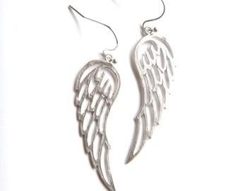 Simple Angel Wing Earrings, Angel Wing Jewelry, Religious Earrings, Silver Angel Wing