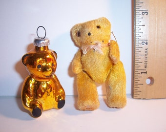 Vintage TEDDY BEAR Ornament & Miniature Mohair Bear - Jointed - No Damage - USA Shipped Insured - Will Ship Int'l