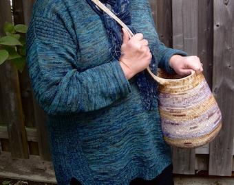 Cross Body Gathering Basket - Rope Coiled Basket - Harvesting Basket - Crossbody Purse