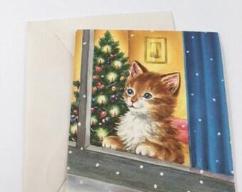Vintage Unused Kitten Christmas Card
