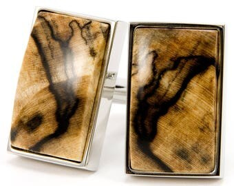 Wood Cuff Links Unique Wooden Spalted Maple Silver Wedding Cufflinks | Perfect Gift- Wedding, Anniversary, Father Of The Bride, Father's Day