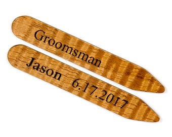 Collar Stays | Hawaiian Koa Wood Collar Stays | 5th Anniversary Gift |  Groomsmen, Best Man, Groom, Father of the Bride, Father of the Groom