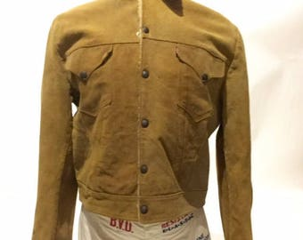 Vintage Levi's Suede Wool Lining Capital E Short Horn Skall Men's 44 50's (DS-Levi-J-2)