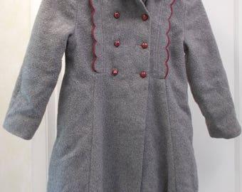 1940s Little Girls Wool Coat, Vintage Ellerie Fashions, Gray With Burgundy Velvet Trim