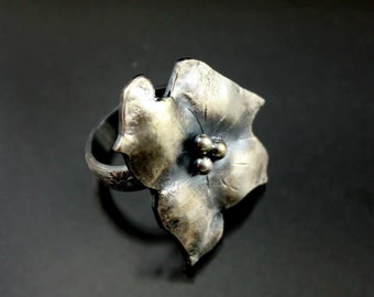 Unique Handmade Silver Jewelry,  Sterling Silver Ring, Flower Ring, Oxidized, Boho, Bohemian Jewelry, Rustic Jewelry
