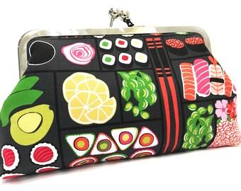clutch purse -  sushi - Japanese- bento box- charcoal  - pink - 8 inch metal frame clutch purse - large purse - kisslock - clutch bag