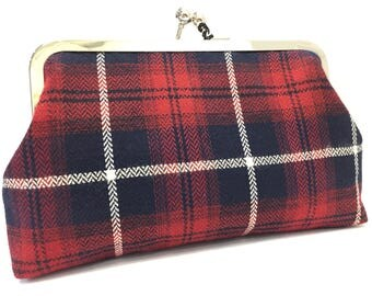 clutch purse - tartan - red - blue - kilt - scotsman - 8 inch metal frame clutch purse - large purse - kisslock - coin purse - clutch bag