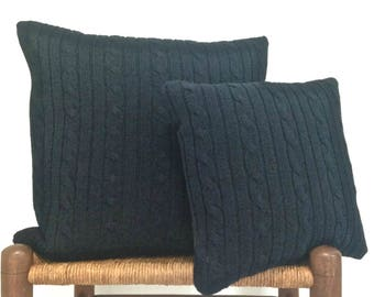 Knit Pillow Navy Blue Cable Knit Sweater Pillows Covers Set of Two 20-Inch and 14-Inch Cushion Covers Up Cycled Sweater Cottage Chic