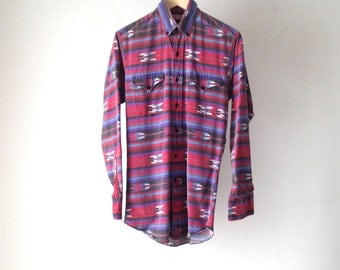 vintage SOUTHWEST color block summer 90s NATIVE AMERICAN fresh prince button down shirt