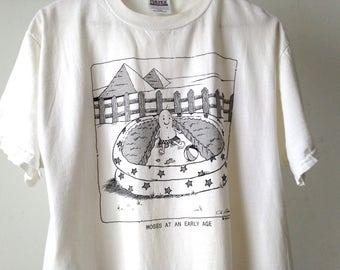vintage JOKES men's white MOSES cartoon vintage 90s faded t-shirt
