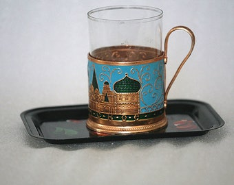 Vintage Tea glass holder on a tray with a hand-painted floral design Collectible Moscow Kremlin Russian Soviet USSR