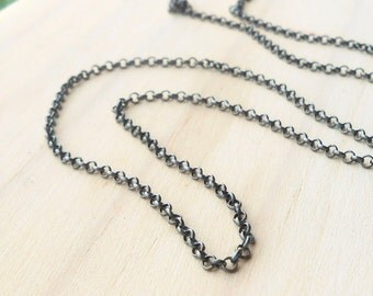 Oxidized Sterling Silver 2mm Rolo Chain, 5 feet