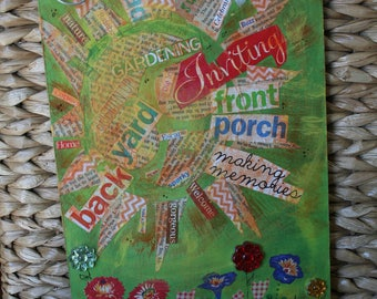 Sunny welcome -- mixed media -- Inviting, sun porch, backyard, gardening, garden, flowers, summer
