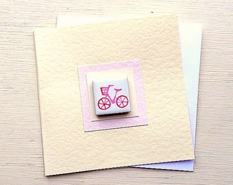 Bicycle Card Pink, Combi, VW, Birthday Card, Greeting Card, Blank Card, Magnet Card, Cycling Card