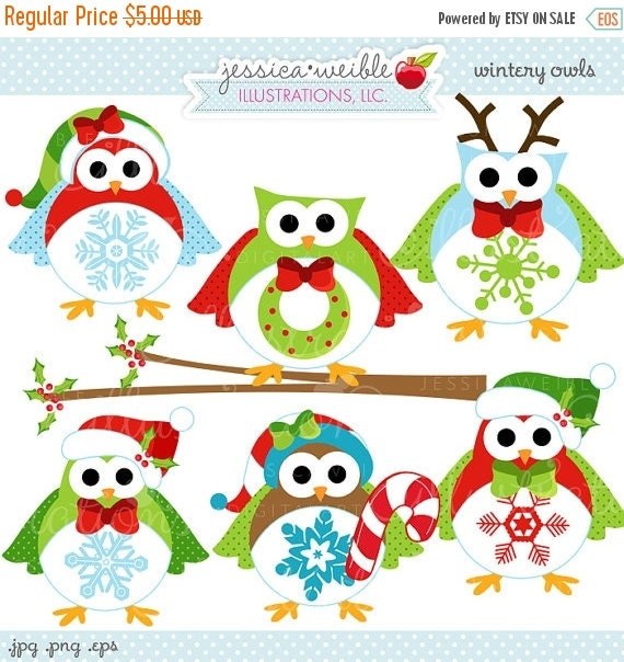 ON SALE Wintery Owls Cute Digital Christmas Clipart, Commercial Use OK, Christmas Owl Clipart, Christmas Graphics