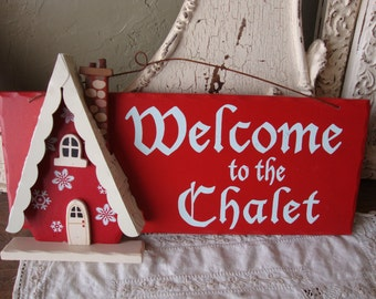 Vintage Christmas wall sign wood and metal Welcome sign Chalet house Red and white home decor Cottage Chic