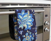 Double Oven Mitt - pretty navy blue leaves and flowers