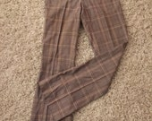 vintage mens plaid pants /1960s 60s/ brown checkered/groovy hippie Brady Bunch
