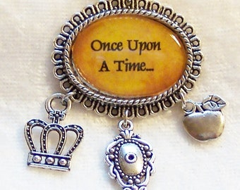 Once Upon a Time Necklace, Snow White Fairy Tale Necklace, Evil Queen Crown Charm, Mirror Charm, Poison Apple Charm, Charms Silver Necklace