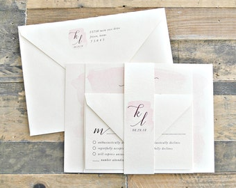 Blaine Pink Watercolor Wedding Invitation Suite with Burgundy ink (customizable)