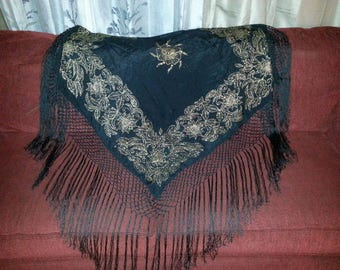 RARE Vintage Mary McFadden black & silver Embroidered Piano Shawl