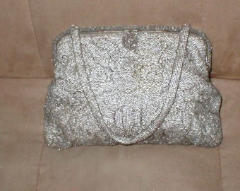 Vintage Pewter Beaded Evening Purse made in FRANCE