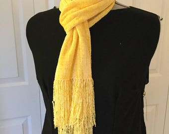 Handwoven Golden Yellow Rayon Chenille Scarf