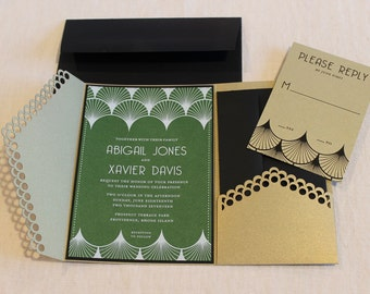 Art Deco Pocket Wedding Invitation