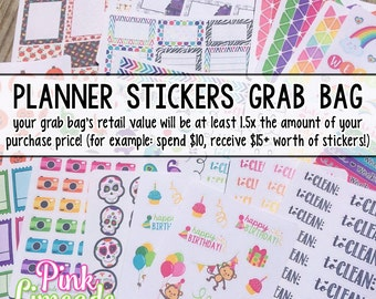 Planner Stickers Grab Bag - printed kiss cut stickers for your planner or calendar - decorative and functional