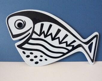 1970s enamel fish trivet Voss